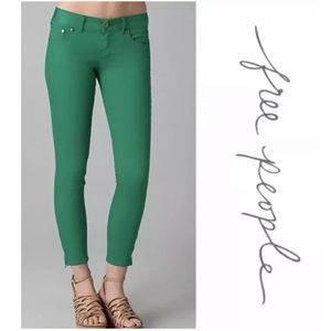 Free People Skinny Cropped Jeans Green Size 24